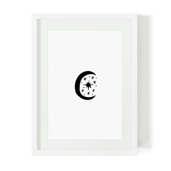 Illustrated scandi moon art print - digital download - Sugar and Vice