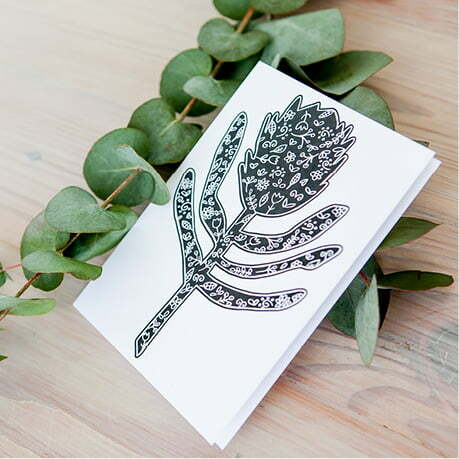 Illustrated silhouette protea greeting card online - Sugar and Vice1