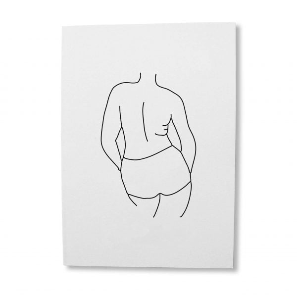 Nandi line drawing woman printable greeting card digital download - Sugar and Vice