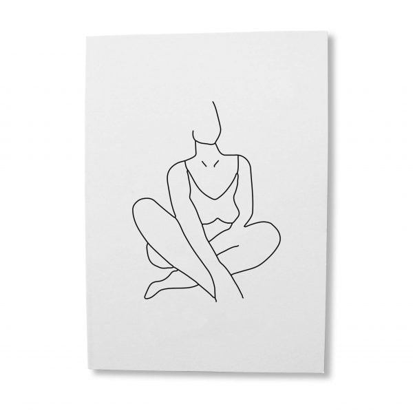 Noluthando line drawing woman greeting card download - Sugar and Vice