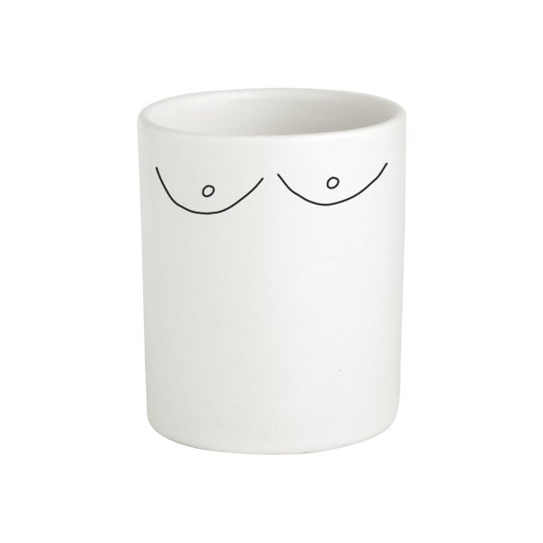 Ceramic white minimalistic boobies storage jar online - sugar and vice