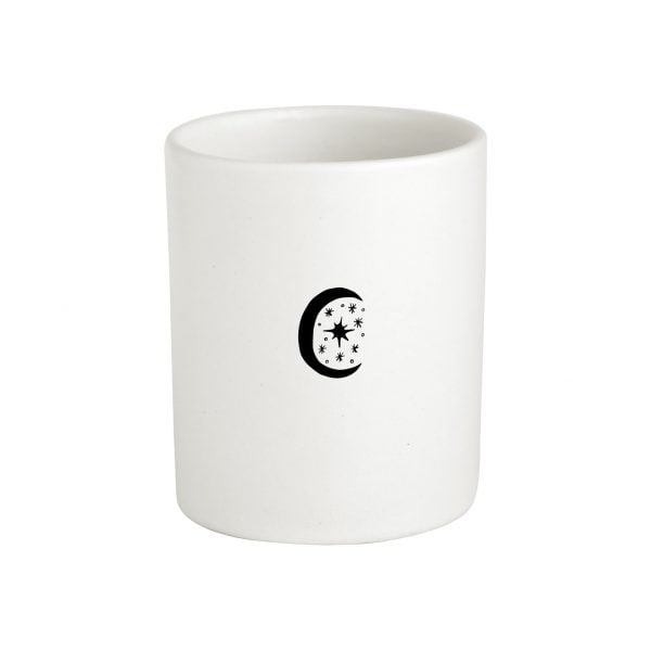 Ceramic white minimalistic moon storage jar online - sugar and vice
