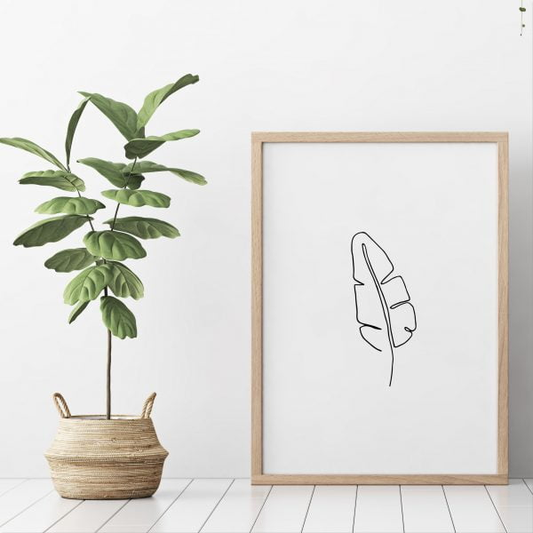 Illustrated Minimalist Banana Leaf Digital Download Art Print Online - Sugar and Vice - 2000 x 2000px3