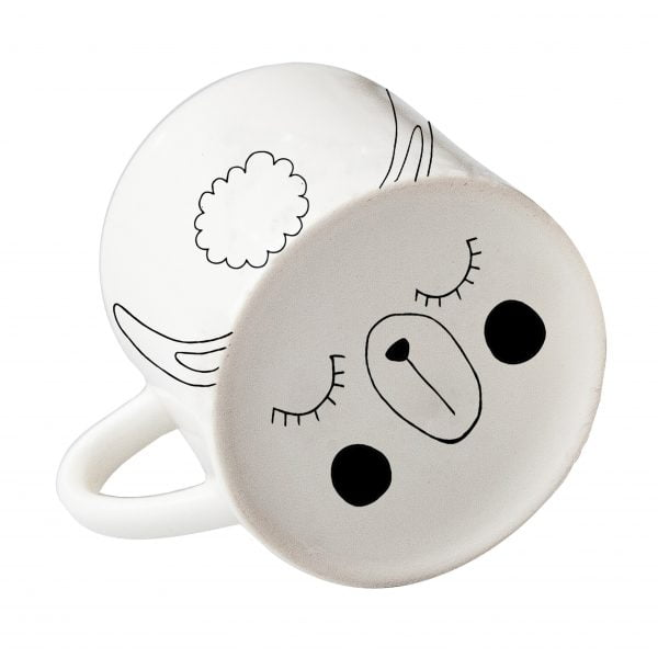 White llama face ceramic mug online - Sugar and Vice