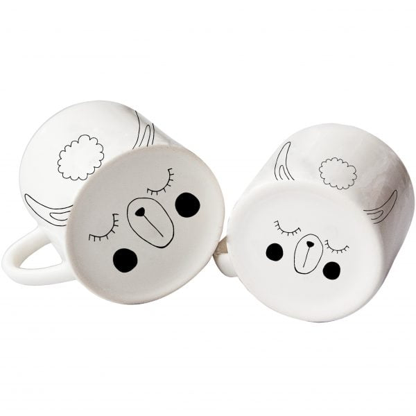 White spotty dog face ceramic mug set online - Sugar and Vice