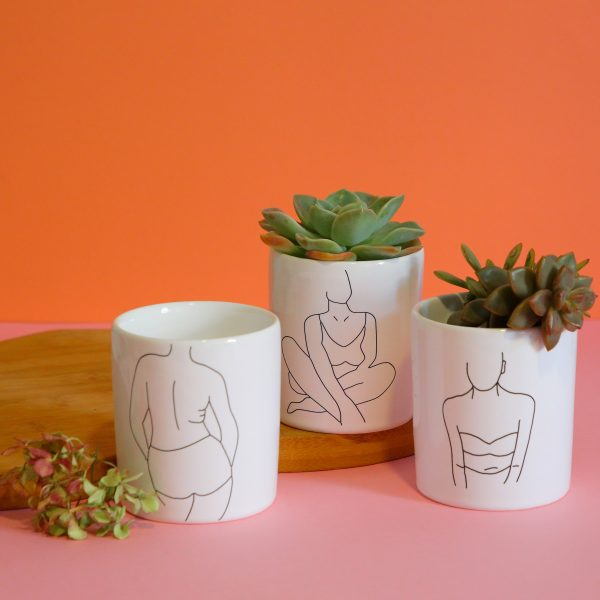 Illustrated Line Drawing Woman Illustration Jar, Mugs and Planter Online - Sugar and Vice - 2000 x 2000px