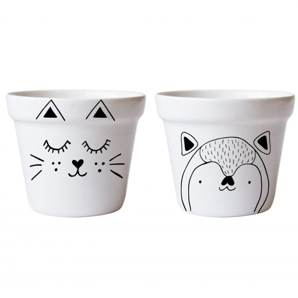 Illustrated Ceramic Cat and Fox Planters Set Online - Sugar and Vice