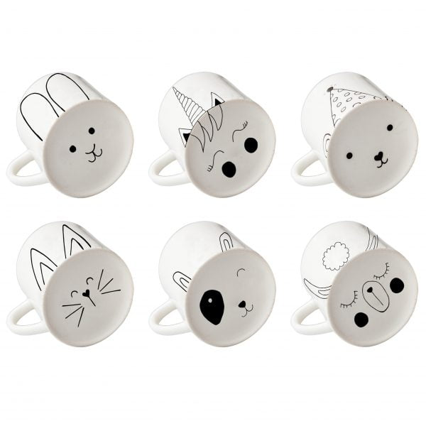 Six white animal face ceramic mug set online - Sugar and Vice1