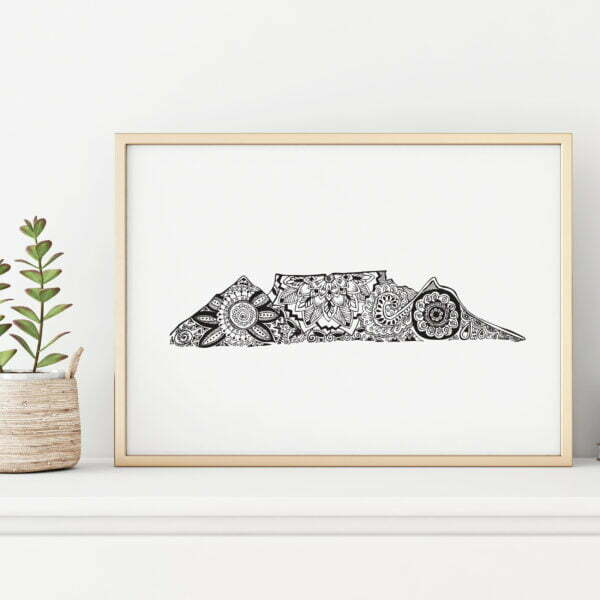 Illustrated souvenir table mountain art print - Sugar and Vice3