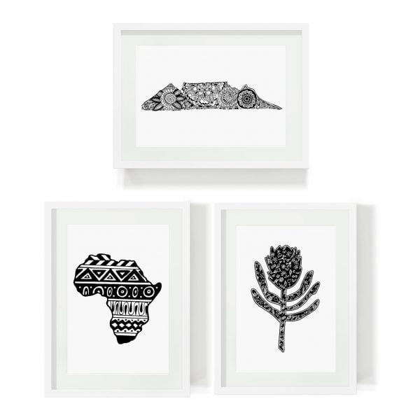 Framed minimalist art print bundle South African Heritage Table Mountain Africa Sugar and Vice