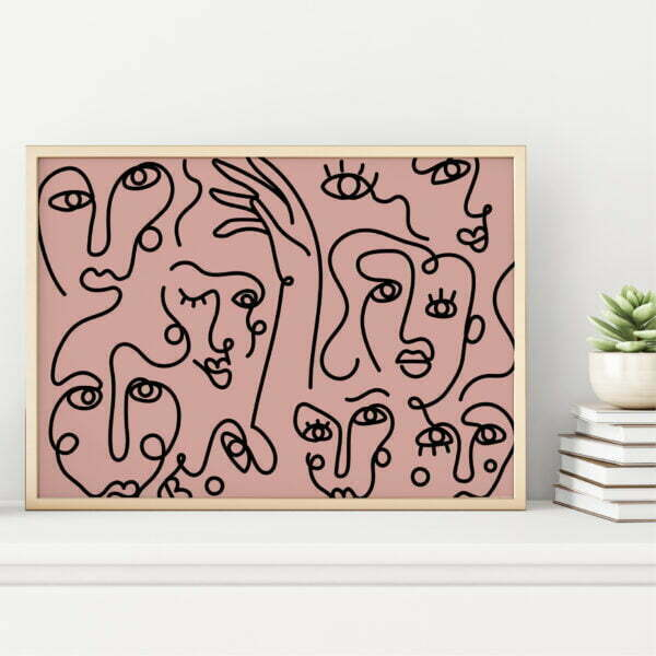 Confidence Abstract Face Bohemian Range Pink and Rust Colours Digital Download Print Online - Sugar and Vice V3 (1)