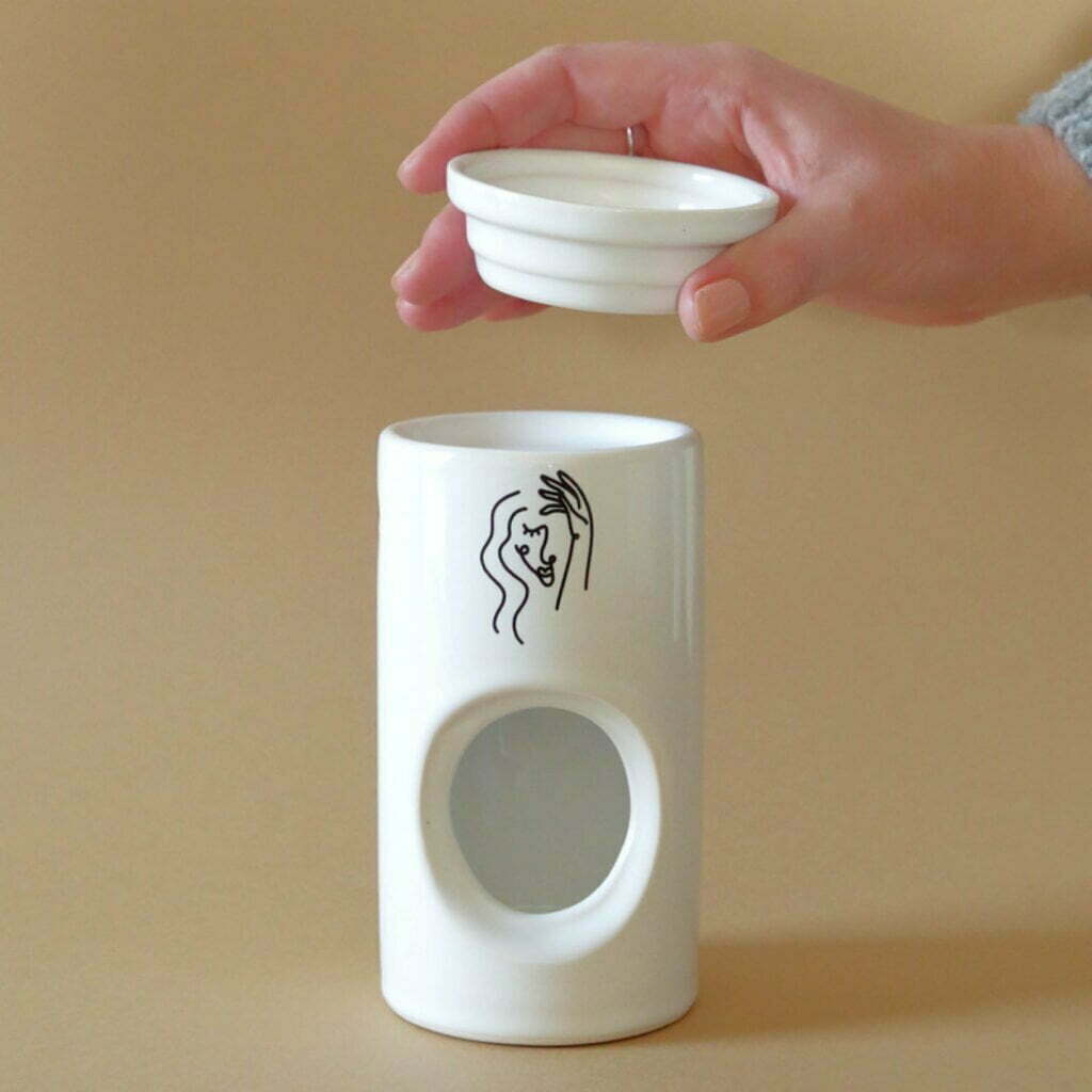 Illustrated Abstract Face Ceramic Oil Burner Online - Cape Town - Sugar and Vice