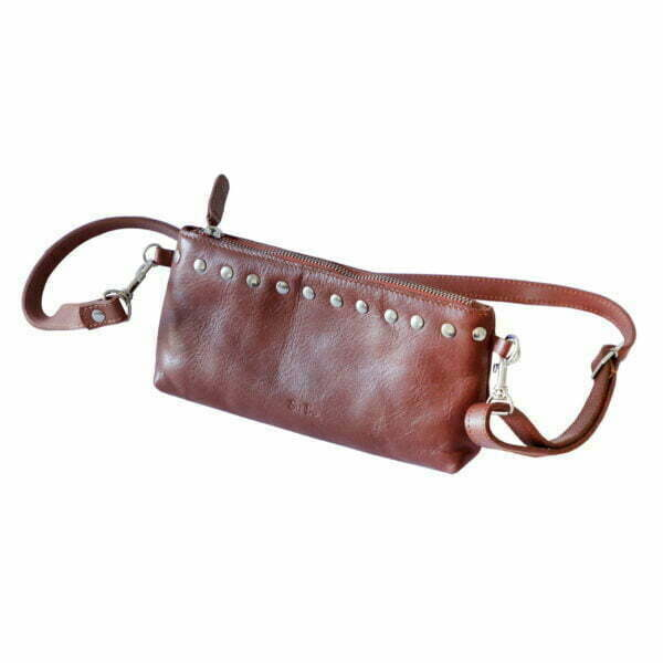 Handmade Genuine Tan Leather Studded Handbag and Wallet Online - Cape Town - Sugar and Vice